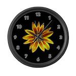 Yellow Daisy on Black Large Wall Clock