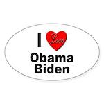 I Love Obama Biden Oval Sticker (10 pk)