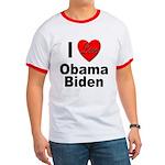 I Love Obama Biden Ringer T