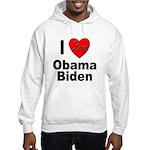 I Love Obama Biden (Front) Hooded Sweatshirt