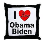 I Love Obama Biden Throw Pillow