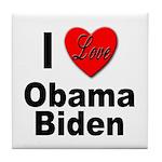 I Love Obama Biden Tile Coaster