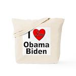 I Love Obama Biden Tote Bag