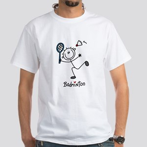 Stick Figure Badminton White T-Shirt