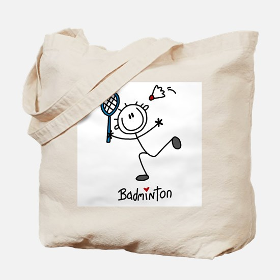 Stick Figure Badminton Tote Bag