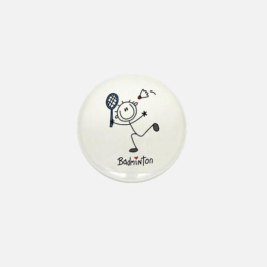 Stick Figure Badminton Mini Button