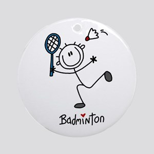 Stick Figure Badminton Ornament (Round)