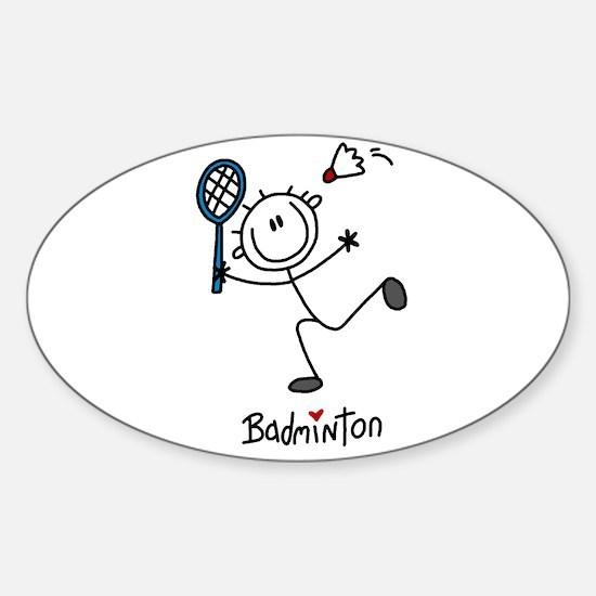 Stick Figure Badminton Oval Sticker (10 pk)