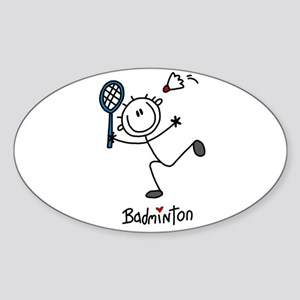 Stick Figure Badminton Oval Sticker