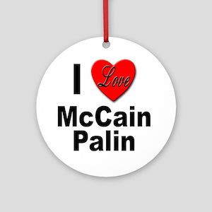 I Love McCain Palin Ornament (Round)