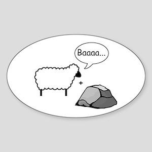Barack Sheep and Rock Oval Sticker