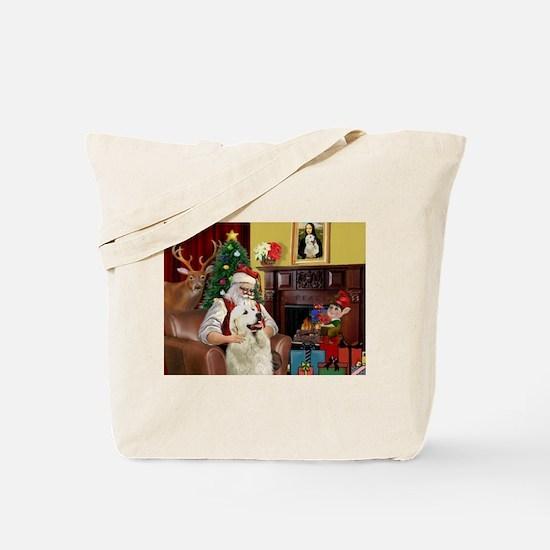 Santa's Great Pyrenees Tote Bag