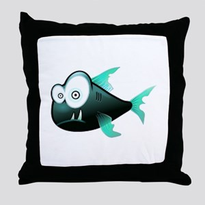Scary Piranha Throw Pillow