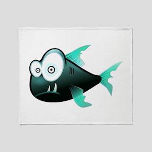 Scary Piranha Throw Blanket