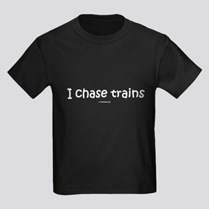 I Chase Trains Kids Dark T-Shirt