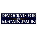 Democrats for McCain Palin Bumper Sticker