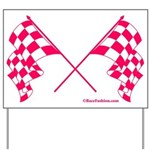 Pink Crossed Checkered Flags Yard Sign