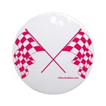 Pink Crossed Checkered Flags Ornament (Round)