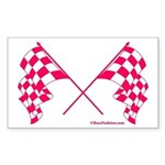 Pink Crossed Checkered Flags Sticker (Rectangle)
