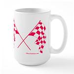 Pink Crossed Checkered Flags Large Mug