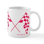 Pink Crossed Checkered Flags Mug