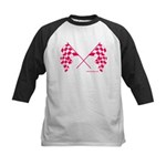 Pink Crossed Checkered Flags Kids Baseball Jersey