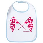 Pink Crossed Checkered Flags Bib