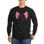 Pink Checkered Flags Long Sleeve Dark T-Shirt