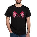 Pink Crossed Checkered Flags Dark T-Shirt