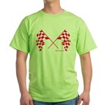 Pink Crossed Checkered Flags Green T-Shirt