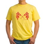 Pink Crossed Checkered Flags Yellow T-Shirt