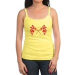 Pink Crossed Checkered Flags Jr. Spaghetti Tank