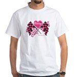 Pink Racing Flags White T-Shirt