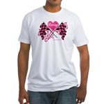 Pink Racing Flags Fitted T-Shirt