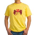 Pink Racing Flags Yellow T-Shirt