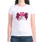 Pink Racing Flags Jr. Ringer T-Shirt