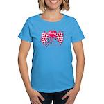 Pink Racing Flags Women's Dark T-Shirt
