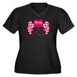 Pink Racing Flags Women's Plus Size V-Neck Dark T-