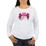 Pink Racing Flags Women's Long Sleeve T-Shirt