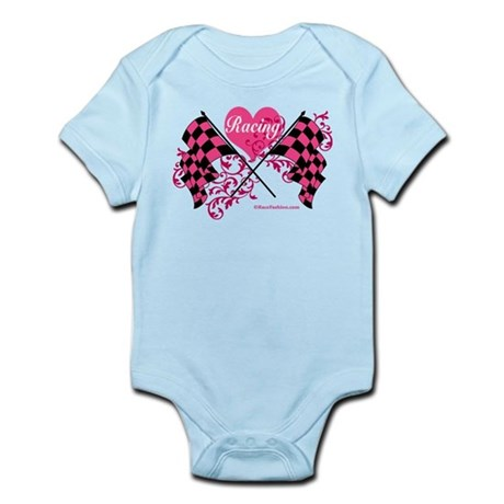 Pink Racing Flags Infant Bodysuit