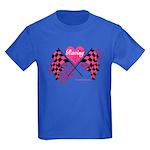 Pink Racing Flags Kids Dark T-Shirt