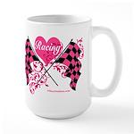 Pink Racing Flags Large Mug