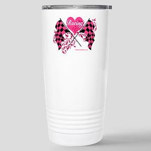 Pink Racing Flags Stainless Steel Travel Mug