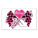 Pink Racing Flags Sticker (Rectangle)