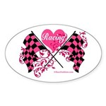 Pink Racing Flags Sticker (Oval)