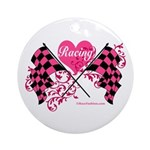 Pink Racing Flags Ornament (Round)
