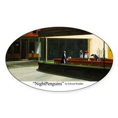 Nightpenguins is back! Oval Decal