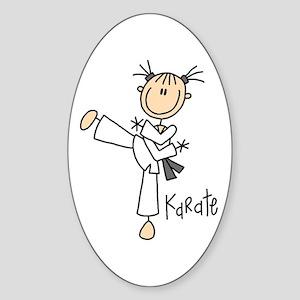 Stick Figure Karate Oval Sticker