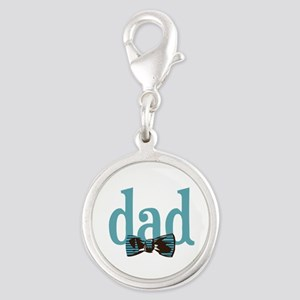 Bow Tie Dad Silver Round Charm