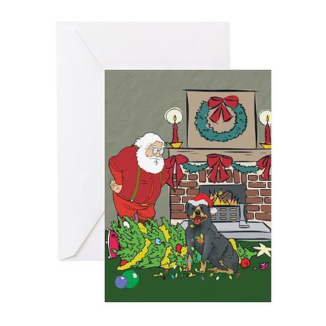 Santa's Helper Rottweiler Greeting Cards (Pk of 20